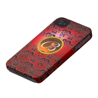 DAMASK GEM MONOGRAM red black orange Case-Mate iPhone 4 Case