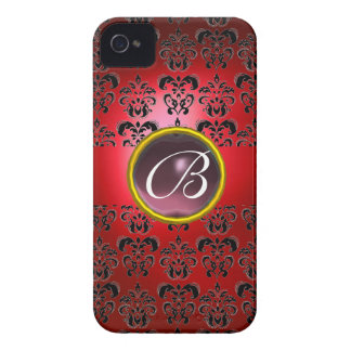DAMASK GEM MONOGRAM red black purple iPhone 4 Case-Mate Cases