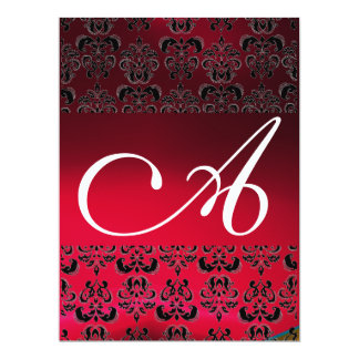 DAMASK GEM MONOGRAM red burgundy white Card