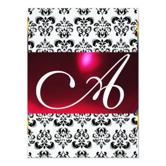DAMASK GEM MONOGRAM red burgundy white 6.5x8.75 Paper Invitation Card