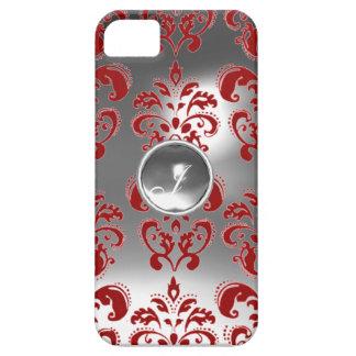 DAMASK GEM MONOGRAM red white iPhone 5 Cases