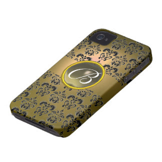 DAMASK GEM MONOGRAM yellow black grey Case-Mate iPhone 4 Case