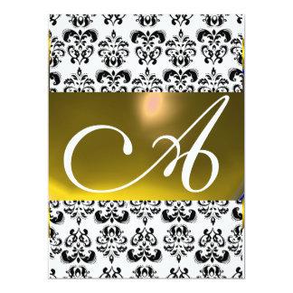 DAMASK GEM MONOGRAM yellow white 6.5x8.75 Paper Invitation Card
