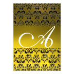 DAMASK GEM MONOGRAM yellow white rsvp ice Personalized Announcements