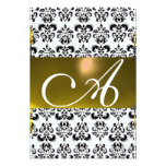 DAMASK GEM MONOGRAM yellow white rsvp ice Personalized Announcement