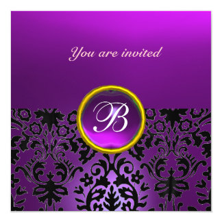 DAMASK GEM STONE MONOGRAM amethyst purple 5.25x5.25 Square Paper Invitation Card
