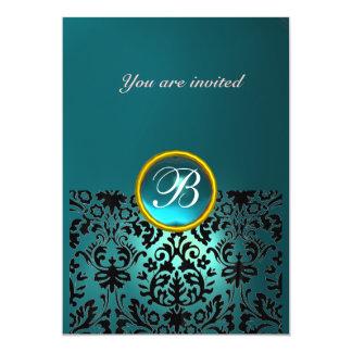 DAMASK GEM STONE MONOGRAM aquamarine blue 5x7 Paper Invitation Card