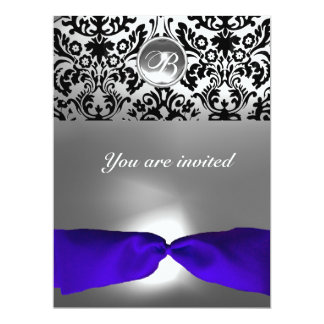 DAMASK GEM STONE MONOGRAM blue ribbon 6.5x8.75 Paper Invitation Card