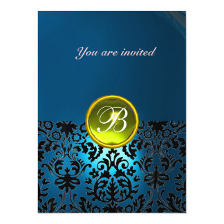 DAMASK GEM STONE MONOGRAM blue yellow rsvp Card