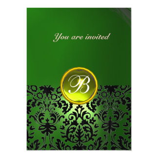 DAMASK GEM STONE MONOGRAM green yellow Card