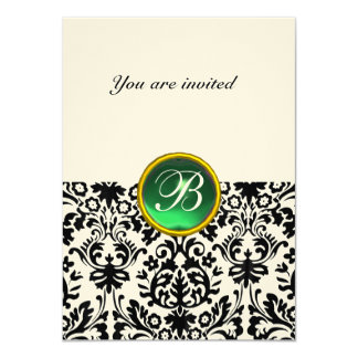 DAMASK GEM STONE MONOGRAM jade green felt rsvp Card