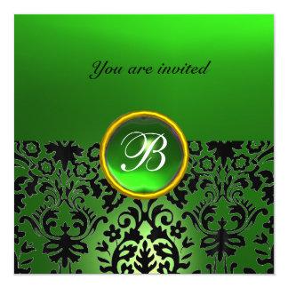 DAMASK GEM STONE MONOGRAM jade green 5.25x5.25 Square Paper Invitation Card