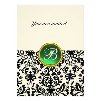 DAMASK GEM STONE MONOGRAM jade green speckled Card