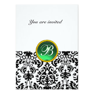 DAMASK GEM STONE MONOGRAM jade green white Card