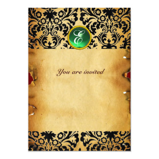 DAMASK GEM STONE MONOGRAM parchment green Card