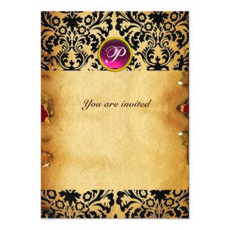 DAMASK GEM STONE MONOGRAM parchment purple pink Card