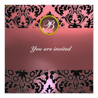 DAMASK GEM STONE MONOGRAM pink 5.25x5.25 Square Paper Invitation Card