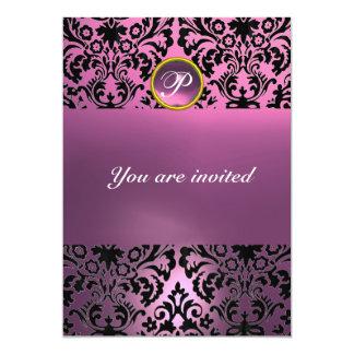 DAMASK GEM STONE MONOGRAM pink purple 5x7 Paper Invitation Card