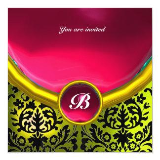 DAMASK GEM STONE MONOGRAM pink yellow 5.25x5.25 Square Paper Invitation Card