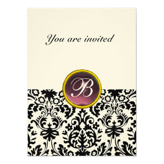 DAMASK GEM STONE MONOGRAM  purple felt Card