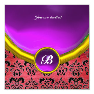 DAMASK GEM STONE MONOGRAM purple pink silk black 5.25x5.25 Square Paper Invitation Card