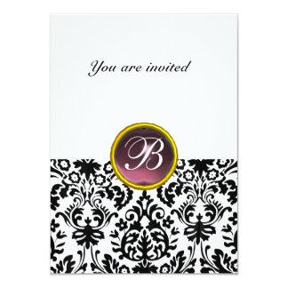 "DAMASK GEM STONE MONOGRAM  purple white rsvp 4.5"" X 6.25"" Invitation Card"