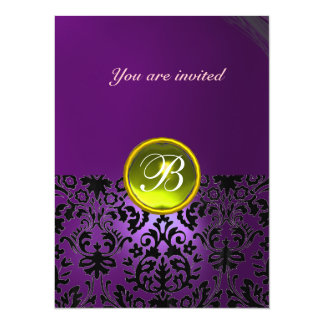 DAMASK GEM STONE MONOGRAM purple yellow Card