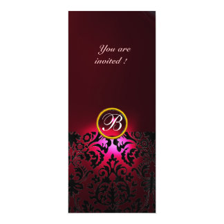 DAMASK GEM STONE MONOGRAM red burgundy 4x9.25 Paper Invitation Card