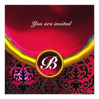 DAMASK GEM STONE MONOGRAM ruby red burgundy 5.25x5.25 Square Paper Invitation Card