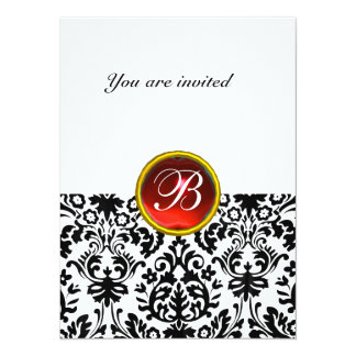 DAMASK GEM STONE MONOGRAM ruby red white Card