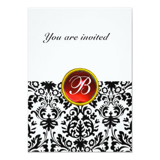 "DAMASK GEM STONE MONOGRAM ruby red white rsvp 4.5"" X 6.25"" Invitation Card"