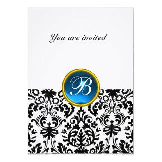 "DAMASK GEM STONE MONOGRAM sapphire blue linen rsvp 4.5"" X 6.25"" Invitation Card"