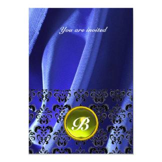 DAMASK GEM STONE MONOGRAM silk blue 5x7 Paper Invitation Card