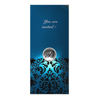 DAMASK GEM STONE MONOGRAM  white blue,teal 4x9.25 Paper Invitation Card