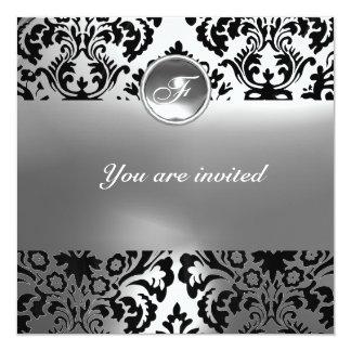 DAMASK GEM STONE MONOGRAM white 5.25x5.25 Square Paper Invitation Card