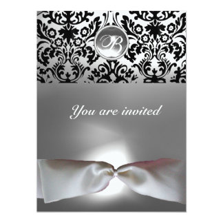 DAMASK GEM STONE MONOGRAM white ribbon grey black 6.5x8.75 Paper Invitation Card