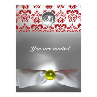 DAMASK GEM STONE MONOGRAM white ribbon grey red Card