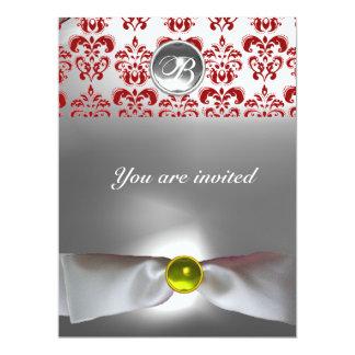 DAMASK GEM STONE MONOGRAM white ribbon grey red 6.5x8.75 Paper Invitation Card