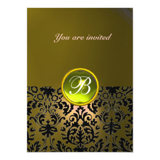 DAMASK GEM STONE MONOGRAM  yellow Card