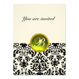 DAMASK GEM STONE MONOGRAM  yellow felt Card