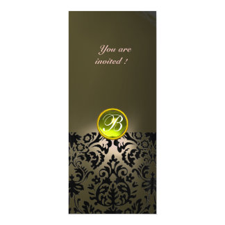 DAMASK GEM STONE MONOGRAM  yellow grey 4x9.25 Paper Invitation Card