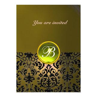 DAMASK GEM STONE MONOGRAM  yellow 5.5x7.5 Paper Invitation Card