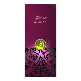 DAMASK GEM STONE MONOGRAM  yellow pink 4x9.25 Paper Invitation Card
