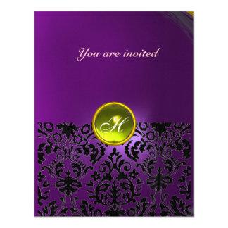 DAMASK GEM STONE MONOGRAM  yellow purple Card