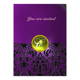 DAMASK GEM STONE MONOGRAM  yellow purple Card