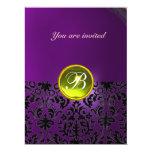 DAMASK GEM STONE MONOGRAM  yellow purple 6.5x8.75 Paper Invitation Card
