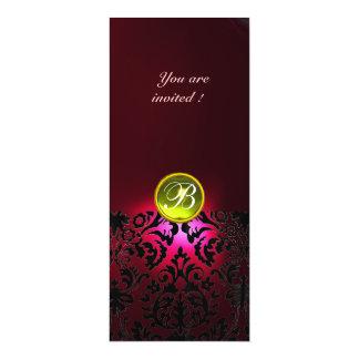DAMASK GEM STONE MONOGRAM  yellow red burgundy 4x9.25 Paper Invitation Card