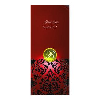 DAMASK GEM STONE MONOGRAM  yellow red 4x9.25 Paper Invitation Card