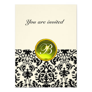 DAMASK GEM STONE MONOGRAM  yellow speckled Card
