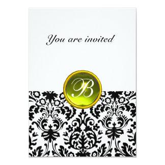 "DAMASK GEM STONE MONOGRAM  yellow white rsvp 4.5"" X 6.25"" Invitation Card"